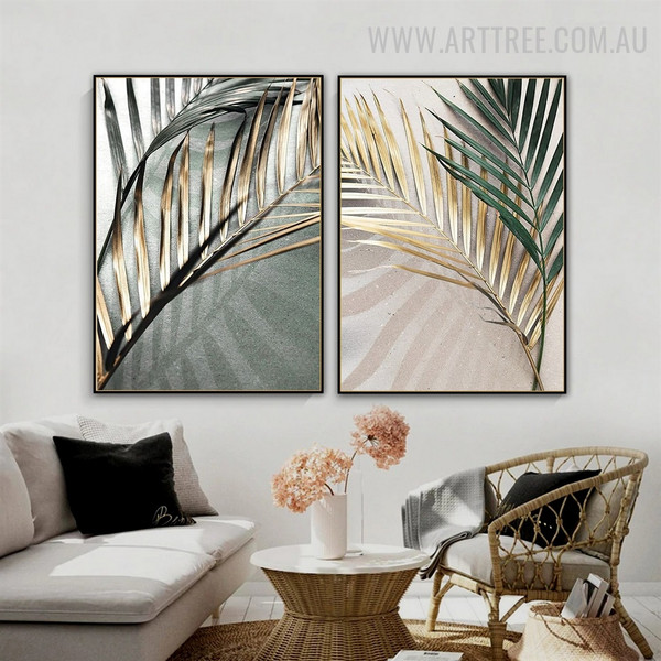 Tropical Leaflets Shadow Abstract Floral Vintage Painting Photograph 2 Piece Canvas Print For Room Wall Décor