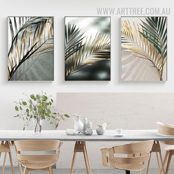 Tropical Palm Leaf Shadow Abstract Floral Vintage Artwork Pic 3 Piece Canvas Print For Room Wall Finery