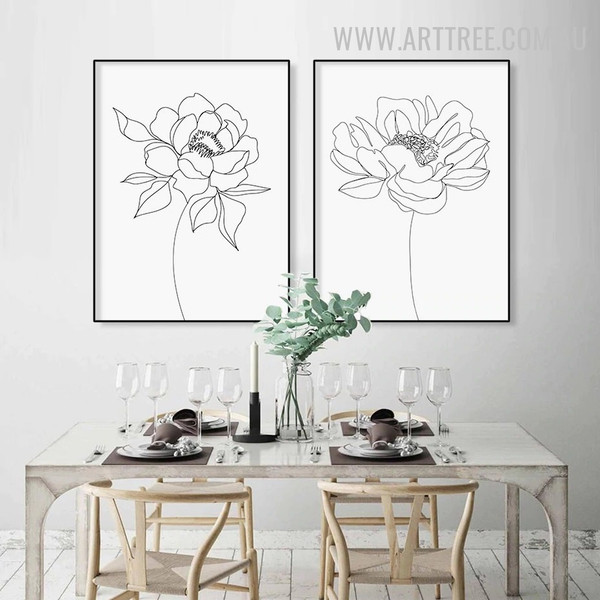 Rosebush Leaves Abstract Painting Photograph Floral Vintage 2 Piece Canvas Print for Room Wall Getup