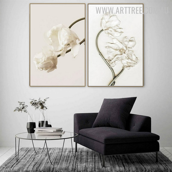 White Daffodil 2 Piece Abstract Floral Wall Art Vintage Image Canvas Print for Room Illumination
