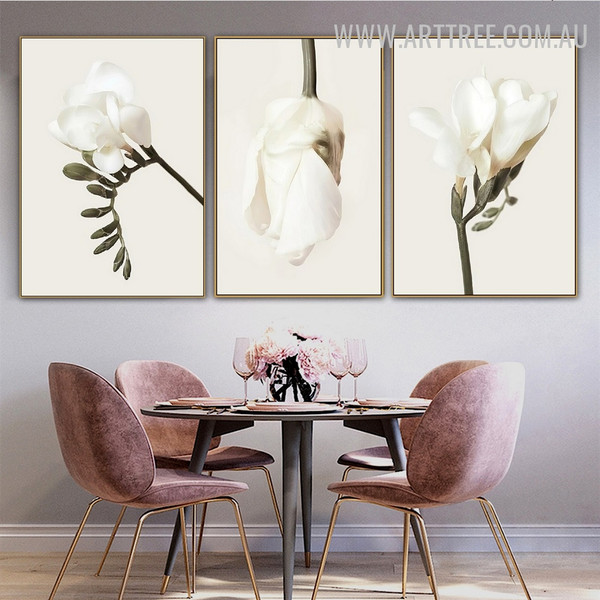 Daffodil Leaflet 3 Piece Floral Abstract Vintage Wall Artwork Photograph Canvas Print for Room Wall Molding