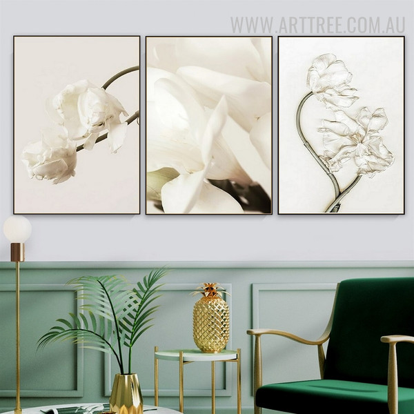 White Floret Abstract Floral 3 Piece Vintage Painting Photo Canvas Print for Room Wall Embellishment