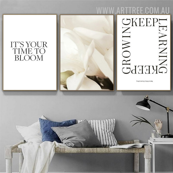 Time To Bloom Flower 3 Piece Typography Floral Vintage Painting Picture Canvas Print for Room Wall Equipment