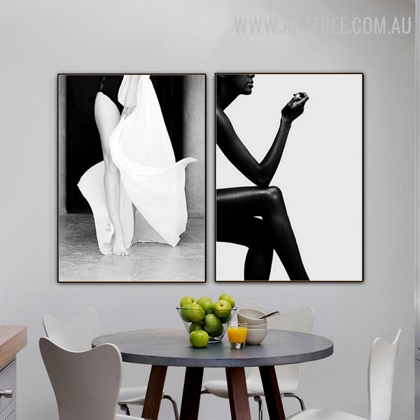 Nude Female Abstract Figure Vintage Art Picture 3 Piece Canvas Print for Room Wall Assortment