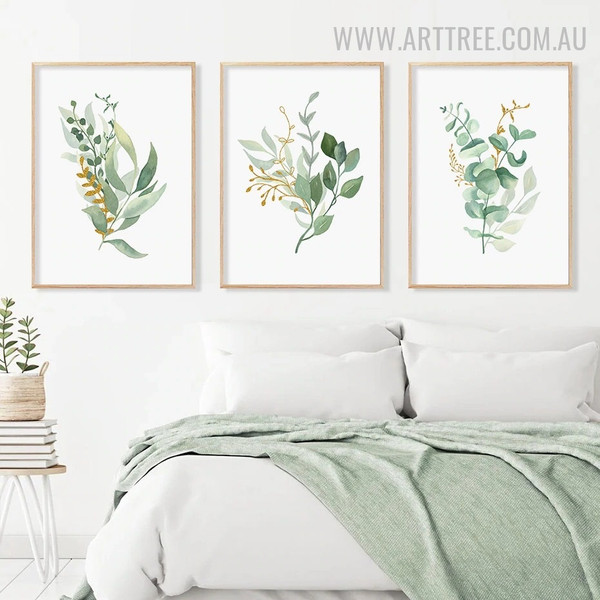 Hued Leaves Beautiful 3 Piece Abstract Floral Watercolour Wall Art Picture Canvas Print for Room Wall Decor