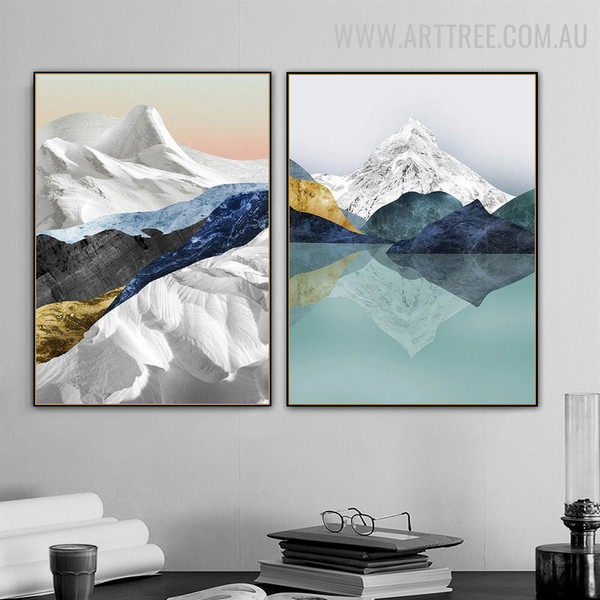 Motley Mountain Ice Abstract Modern Painting Image 2 Piece Naturescape Canvas Print for Room Wall Trimming