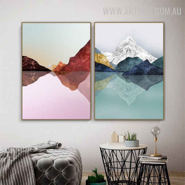 Mountain Reflection Snow 2 Piece Abstract Naturescape Modern Painting Photo Canvas Print for Room Wall Equipment