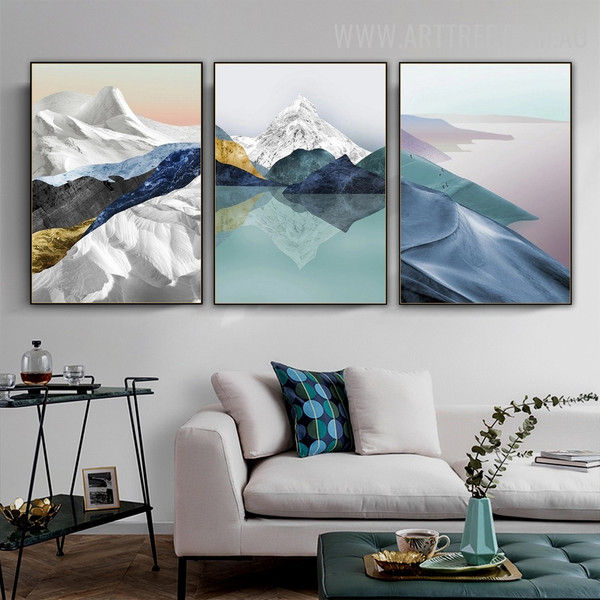 Ocean Mount Snow Modern Painting Photograph 3 Piece Abstract Naturescape Canvas Print For Room Wall Illumination