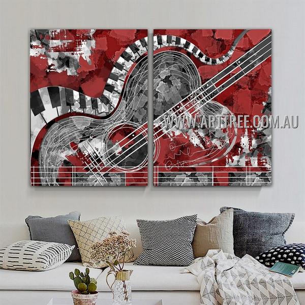 Zigzag Piano Keys Abstract Modern Artist Handmade Heavy Texture 2 Piece Multi Panel Canvas Oil Painting Wall Art Set For Room Ornamentation