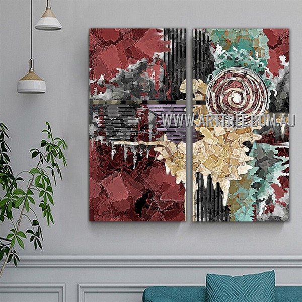 Colorific Splotches Abstract Modern Artist Handmade Heavy Texture 2 Piece Multi Panel Oil Paintings Wall Art Set For Room Moulding
