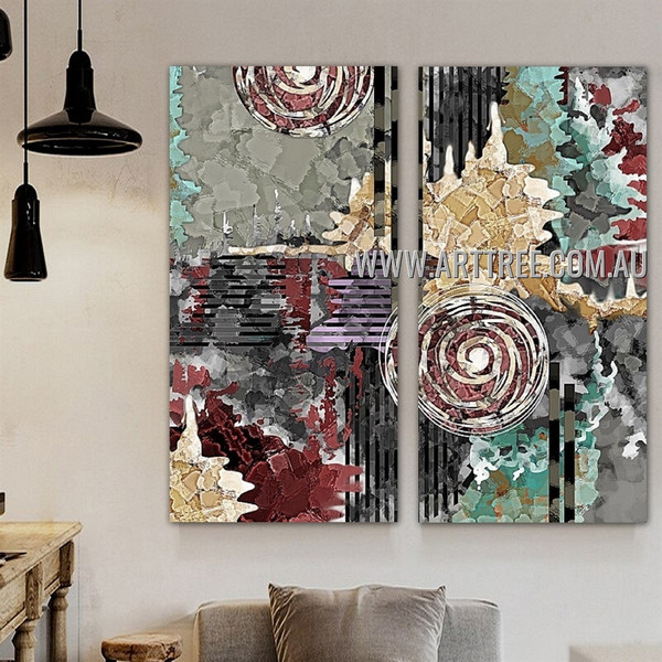 Coloured Splodges Abstract Modern Artist Handmade Heavy Texture 2 Piece Split Canvas Paintings Wall Art Set For Room Moulding