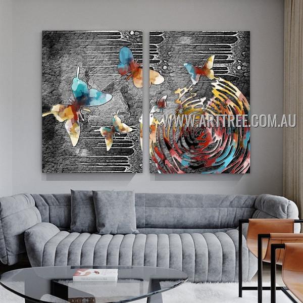 Varicolored Butterflies Abstract Modern Artist Handmade Heavy Texture 2 Piece Split Oil Paintings Wall Art Set For Room Adornment