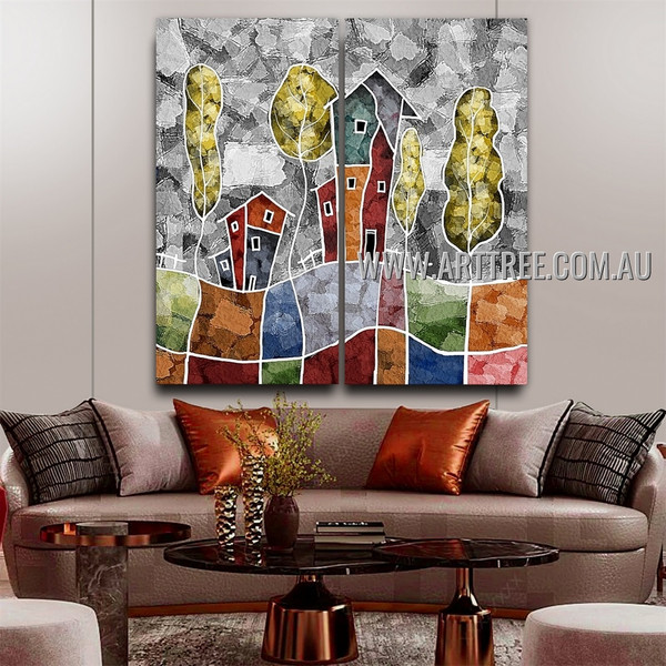 Particoloured Huts Abstract Modern Artist Handmade Heavy Texture 2 Piece Split Canvas Painting Wall Art Set For Room Decor