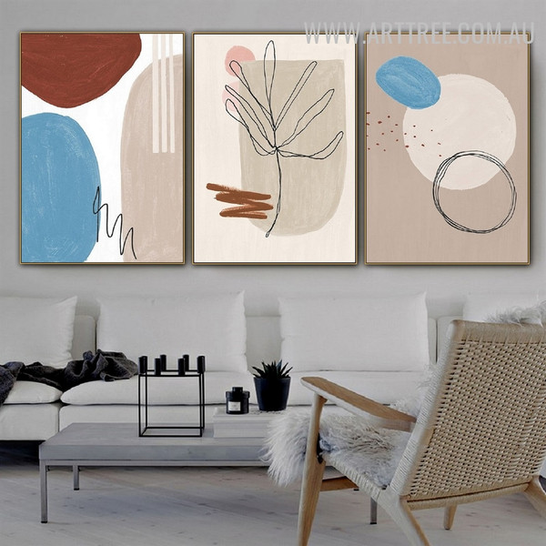 Zigzag Line Leaf 3 Piece Abstract Wall Art Geometric Shapes Watercolor Image Canvas Print for Room Garnish