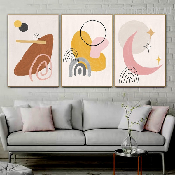 Circle Moon Lines 3 Piece Abstract Painting Geometrical Pattern Watercolor Painting Pic Canvas Print for Room Wall Getup