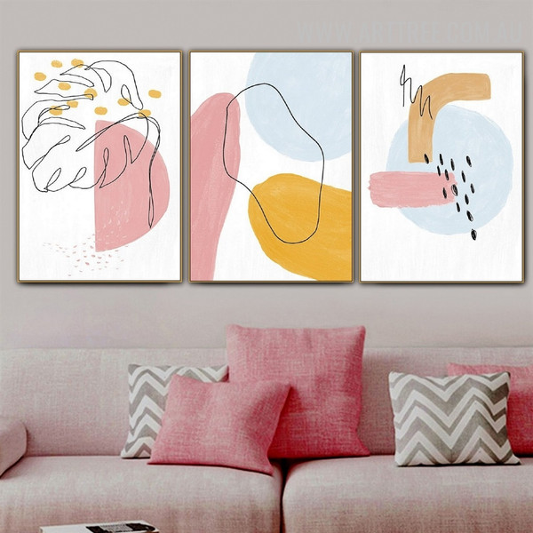 Leaflet Points Line Watercolor Picture Canvas Print Abstract 3 Panel Geometric Art Wall Hanging Molding