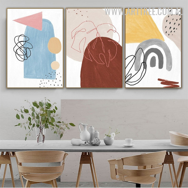 Triangle Tarnish Circles 3 Piece Abstract Watercolor Geometrical Wall Art Picture Canvas Print for Room Adornment