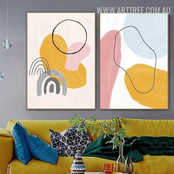 Blur Sphere Spots Watercolor Geometrical Abstract Picture Canvas Print 2 Piece for Room Wall Artwork Ornament