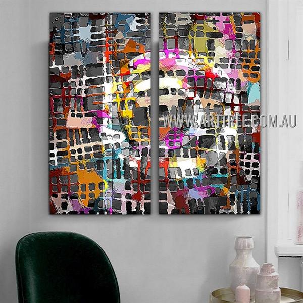 Colorific Streak Spots Abstract Modern Artist Handmade 2 Piece Split Oil Paintings Wall Art Set For Room Trimming