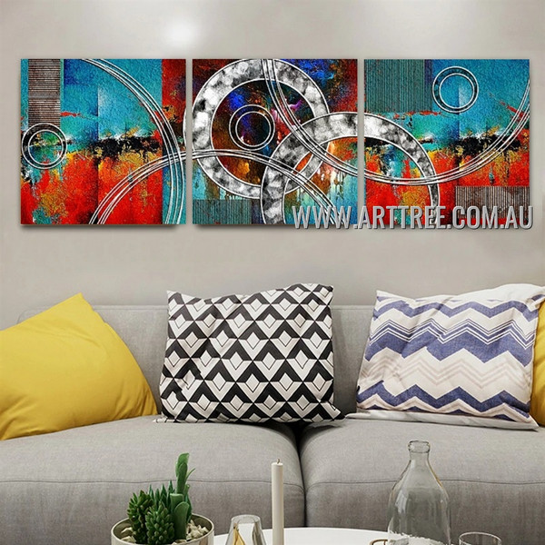 Devious Abstract Contemporary Artist Handmade 3 Piece Multi Panel Wall Art Paintings Set For Room Decor