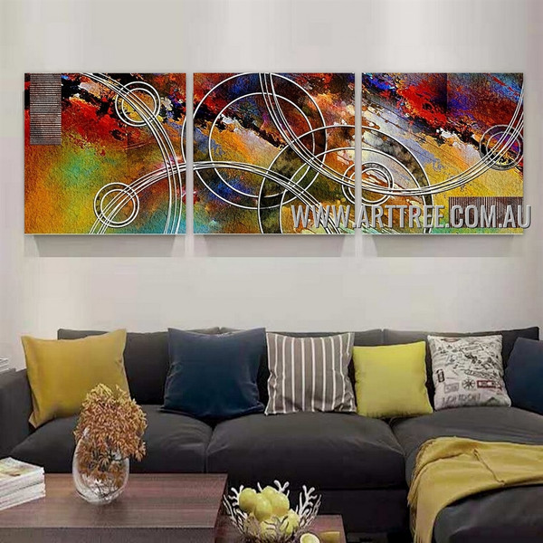 Curvy Abstract Contemporary Artist Handmade 3 Piece Split Canvas Painting Wall Art Set For Room Decoration
