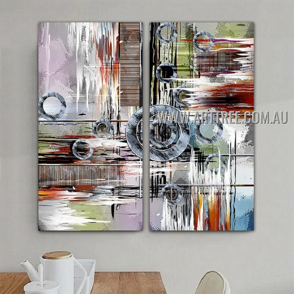 Multicolored Taints Abstract Contemporary Artist Handmade 2 Piece Split Panel Painting Wall Art Set For Room Onlay