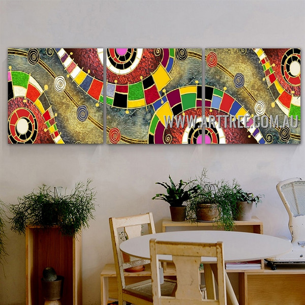 Rambling Design Abstract Contemporary Artist Handmade 3 Piece Split Oil Paintings Wall Art Set For Room Garniture