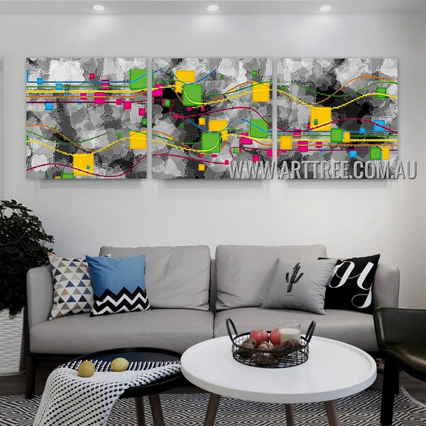 Particoloured Stains Abstract Contemporary Artist Handmade 3 Piece Multi Panel Canvas Oil Painting Wall Art Set For Room Disposition