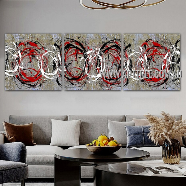 Circuitous Splashes Abstract Contemporary Artist Handmade 3 Piece Multi Panel Oil Paintings Wall Art Set For Room Décor