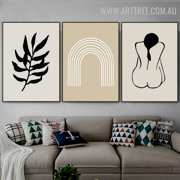 Nude Dona Leaves Abstract Scandinavian Image 3 Piece Floral Artwork Canvas Print for Room Wall Equipment