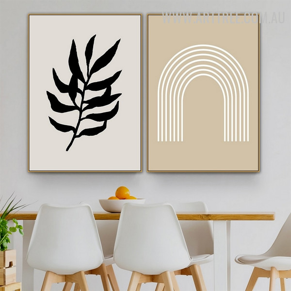 Curved Lineament 2 Piece Abstract Scandinavian Geometric Artwork Image Canvas Print for Room Wall Trimming