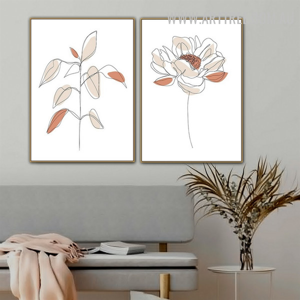 Peony Leafage Flower 2 Piece Abstract Floral Scandinavian Painting Photo Canvas Print for Room Wall Décor