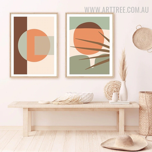 Square Circle 2 Piece Abstract Geometric Pattern Artwork Image Scandinavian Canvas Print for Room Wall Finery
