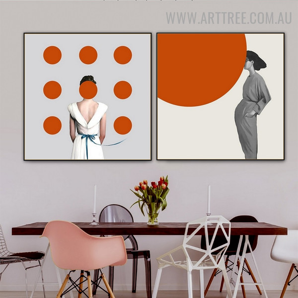 Circular Dona Circles Abstract Painting Image 2 Panel Fashion Modern Canvas Print for Room Wall Embellishment