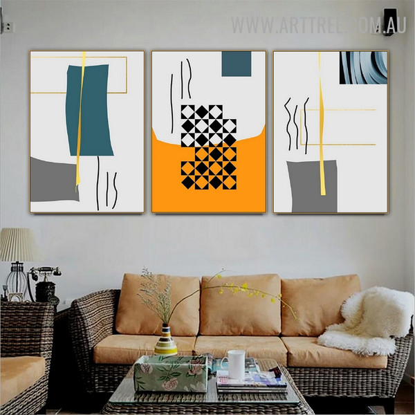 Rectangle Lineament Square Geometric Abstract 3 Piece Contemporary Wall Art Image Canvas Print for Room Onlay