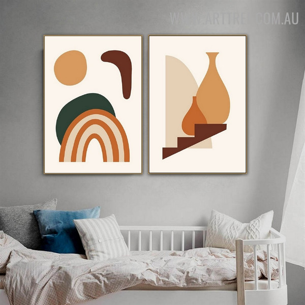 Slur Vase Stairs Abstract Scandinavian Artwork Image 2 Piece Landscape Canvas Print for Room Wall Disposition