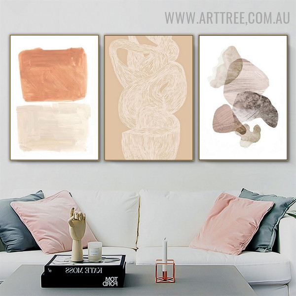 Verse Smear Spots Scandinavian Painting Picture 3 Piece Abstract Geometrical Canvas Print for Room Wall Adornment
