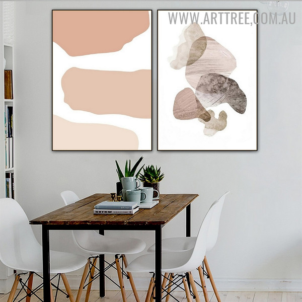Roundly Taint Spots Abstract Scandinavian Minimalist Wall Art Image 2 Piece Canvas Print for Room Trimming