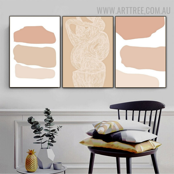 Curved Splodge Abstract Scandinavian 3 Panel Minimalist Painting Photograph Canvas Print for Room Wall Garniture