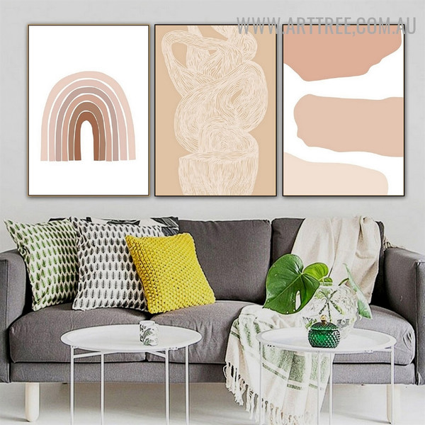 Bold Lineament Abstract Geometric Painting Photo 3 Piece Scandinavian Canvas Print for Room Wall Finery