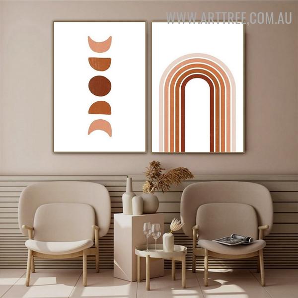 Curved Streaks Moon Abstract Geometric Art Photo 2 Piece Scandinavian Canvas Print for Room Wall Decor