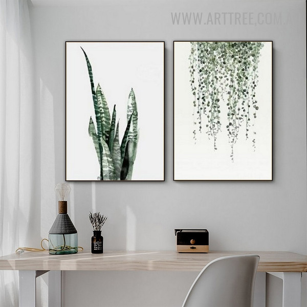 Snake Plant Hanging Leaf Nordic 2 Piece Floral Modern Painting Photo Canvas Print for Room Wall Embellishment
