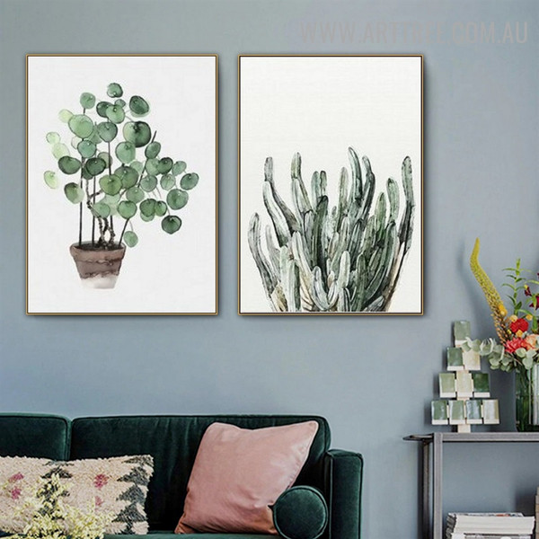 Eucalyptus Leaf Nordic Image 2 Panel Floral Modern Wall Art Canvas Print for Room Garniture