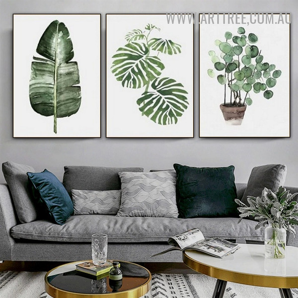 Banana Leaf Monstera Nordic Modern Painting Image 3 Piece Floral Canvas Print for Room Wall Adornment