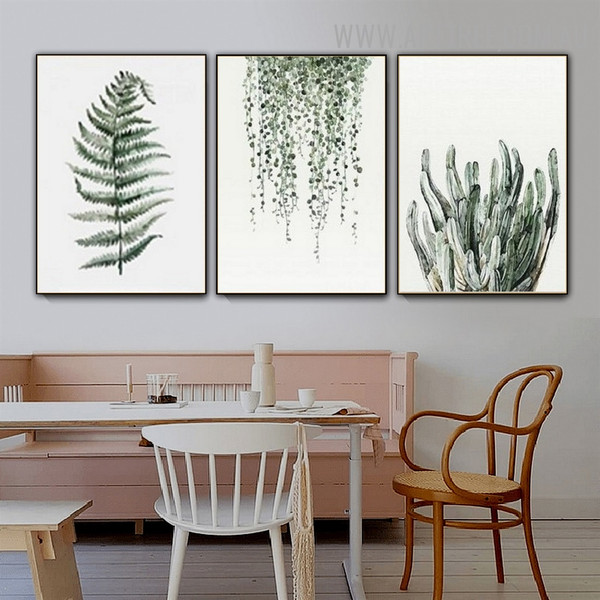 Hanging Leaves Fern Nordic Modern Painting Photo 3 Panel Floral Canvas Print for Room Wall Moulding