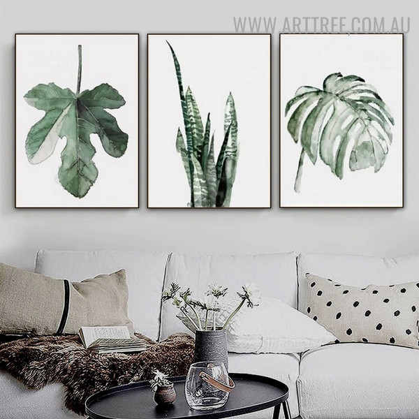 Monstera Foliage 3 Piece Nordic Floral Contemporary Painting Image Canvas Print for Room Wall Ornament
