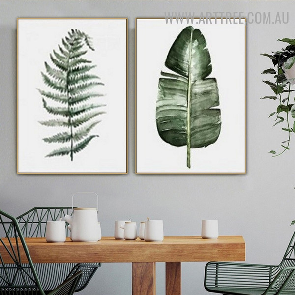 Fern Banana Leafage Nordic Modern 2 Piece Wall Art Piece Floral Canvas Print for Room Wall Getup