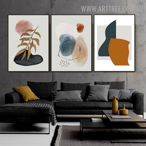 Leafage Points Circle Abstract Geometric Watercolor Painting Image 3 Panel Canvas Print for Room Wall Garnish