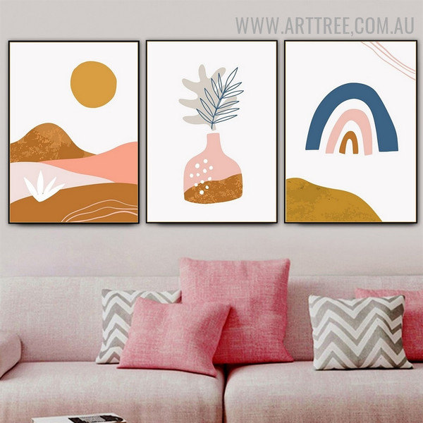 Leafage Pot Sun 3 Piece Scandinavian Abstract Naturescape Artwork Picture Canvas Print for Room Wall Ornament