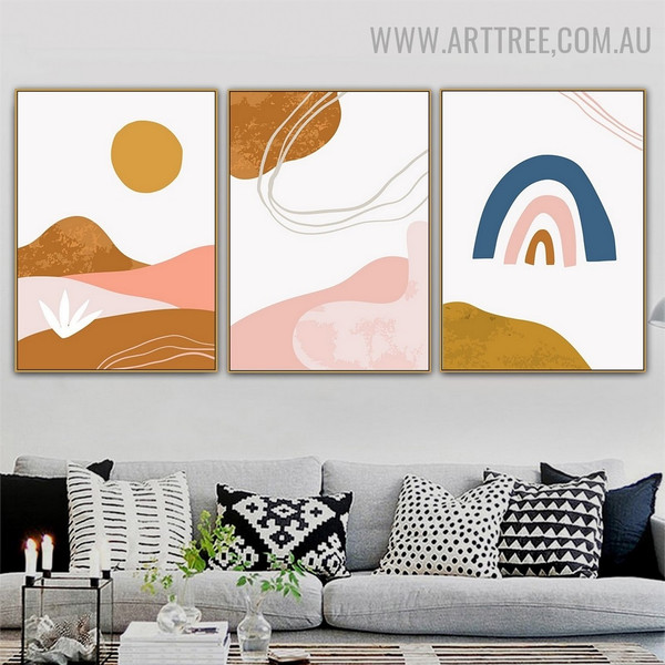 Daystar Hills Sun 3 Piece Scandinavian Abstract Naturescape Painting Picture Canvas Print for Room Wall Adornment